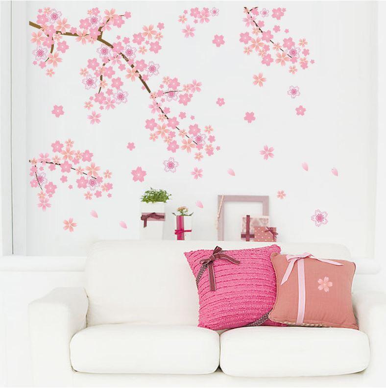 Muursticker Bloesemtak Roze