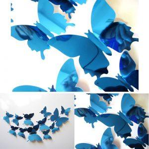 3D Vlinders Spiegel Blauw