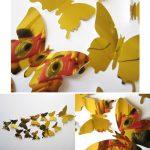 3D Vlinders Spiegel Goud