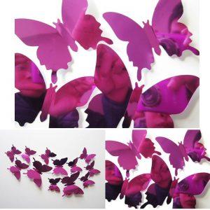 3D Vlinders Spiegel Roze