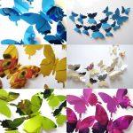 3D Vlinders Spiegel Set 5 Kleuren
