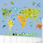 muursticker wereldkaart kind