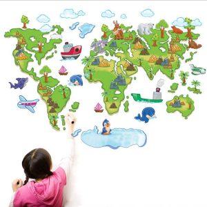 muursticker wereldkaart kinderkamer