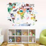 wereldkaart muursticker kinderkamer