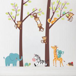 Muursticker Bomen met Dieren