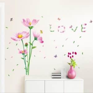 Muurstickers Roze Bloemen en Vlinders