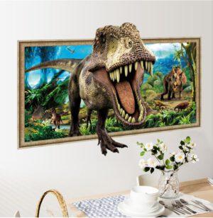 Muursticker Dinosaurus T-Rex 3D